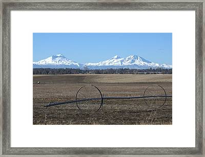 Three Sisters Mountains Framed Print by Linda Larson