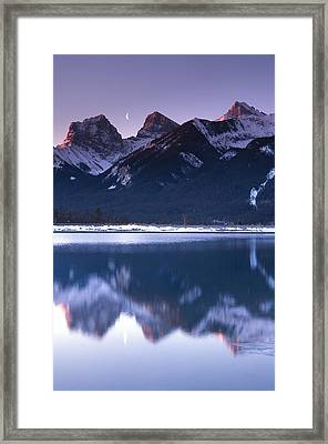 Three Sisters With Crescent Moon Framed Print