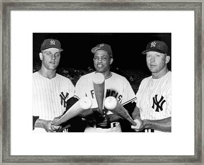 Three Slugging Outfielders Framed Print by Underwood Archives