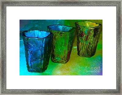 Three Smoke Fired Vases Framed Print by Joan-Violet Stretch