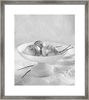 Three Smoked Eggs Pealed Black And White Framed Print