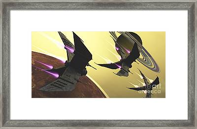 Three Spacecraft Pass By One Of Saturns Framed Print by Corey Ford