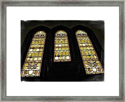 Three Stained Glass Windows Framed Print by Image Takers Photography LLC - Carol Haddon