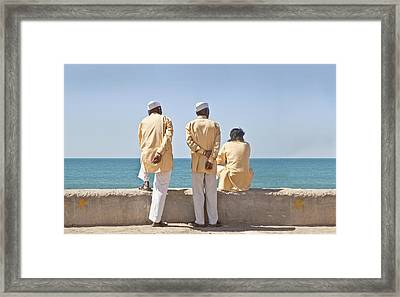 Three Stooges Waiting Time Pass Framed Print by Kantilal Patel