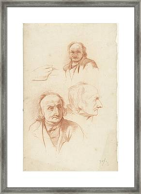 Three Studies Of The Head Of An Old Man And A Hand Framed Print by Quint Lox