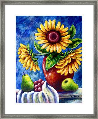 Three Sunflowers And A Pear Framed Print