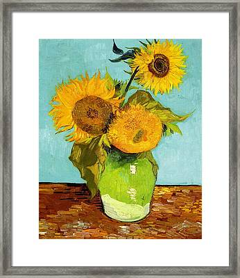 Three Sunflowers In A Vase Framed Print by Vincent Van Gogh