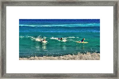 Framed Print featuring the pyrography Three Surfers And Blue Water by Julis Simo