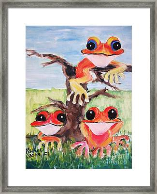 Three Tee Frogs Framed Print