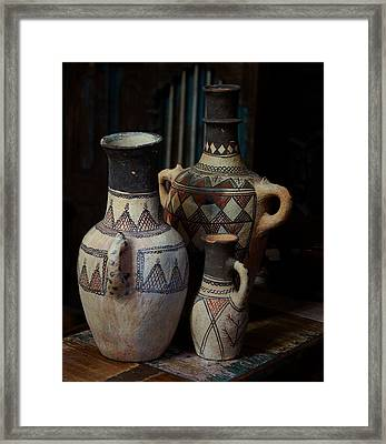 Three Terracotta Vases Framed Print by Lorenzo Williams