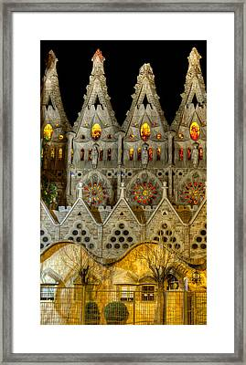Three Tiers - Sagrada Familia At Night - Gaudi Framed Print