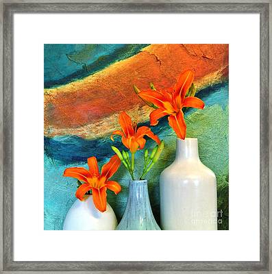 Three Tigerlilies In A Vase Framed Print by Marsha Heiken