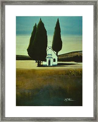 Three Trees And A Church Framed Print