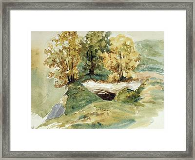 Three Trees At The Edge Of A Hill Framed Print by Ferdinand Victor Eugene Delacroix