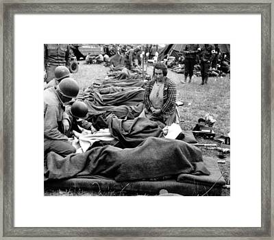 Three U.s. Army Medics Attend Framed Print
