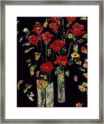 Three Vases With Roses Framed Print