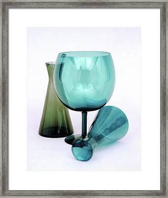Three Venini Glasses Framed Print by Richard Rutledge