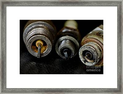 Three Vintage Rusty Spark Plugs  Framed Print by Wilma  Birdwell