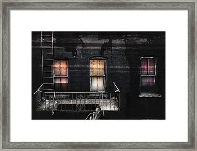 Three Windows And Ladder - As Seen From The Manhattan Bridge Framed Print by Gary Heller