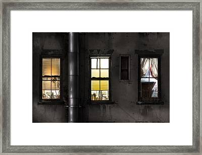 Three Windows And Pipe - The Story Behind The Windows Framed Print by Gary Heller