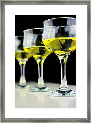 Three Wineglass In Wine Colors Framed Print