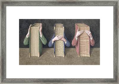 Three Wise Books, 2005 Wc On Paper Framed Print by Jonathan Wolstenholme