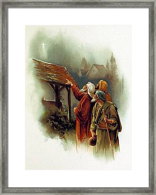 Three Wise Men And The Star Of Bethlehem Framed Print by British Library