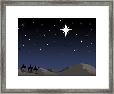 Three Wisemen Following Star Framed Print by Daniel Sicolo
