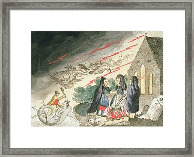 Three Witches In A Graveyard, C.1790s Framed Print by English School