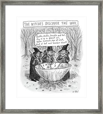 Three Witches Stir A Large Wok Framed Print