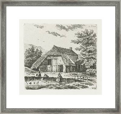 Three Women Doing Laundry In The Water For A Farm In Beek Framed Print by Christiaan Wilhelmus Moorrees