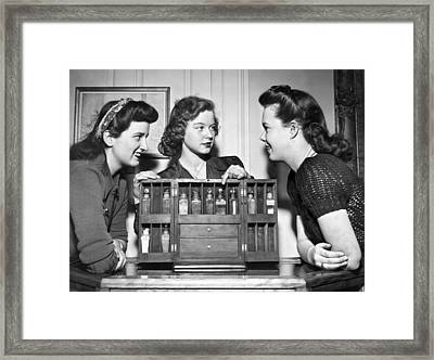 Three Women Examine Exhibit Framed Print