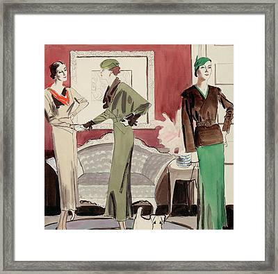 Three Women In A Living Room Framed Print by R.S. Grafstrom