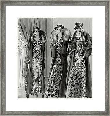 Three Women In Coats By Molyneux Framed Print by Creelman