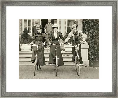 Three Women On Bicycles, Early 1900s Framed Print by English Photographer