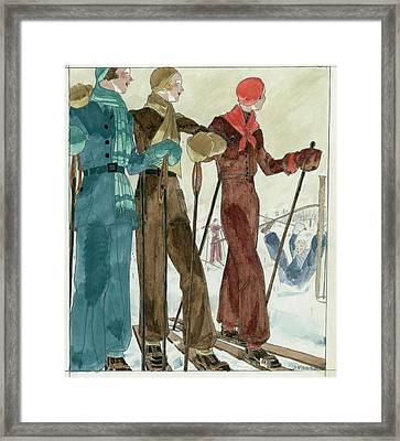 Three Women On The Ski Slopes Wearing Suits Framed Print by Jean Pages