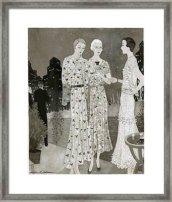 Three Women Outdoors Wears Jay-thorpe Framed Print
