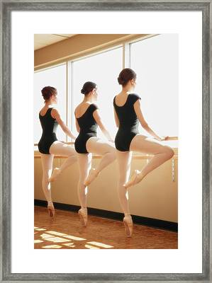 Three Women Practicing Dance Framed Print
