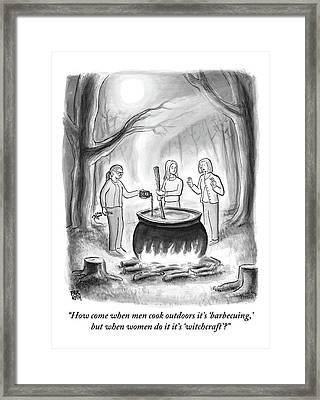 Three Women Stand Around A Large Cauldron Framed Print
