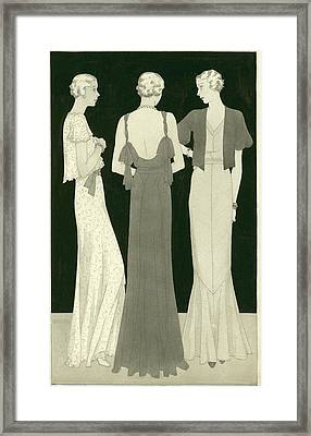 Three Women Standing In A Circle Framed Print by Polly Tigue Francis