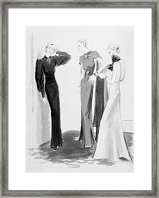 Three Women Wearing Evening Dresses Framed Print by Artist Unknown