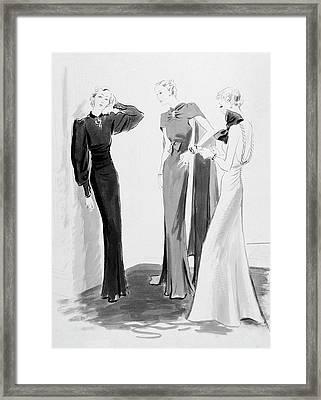 Three Women Wearing Evening Dresses Framed Print