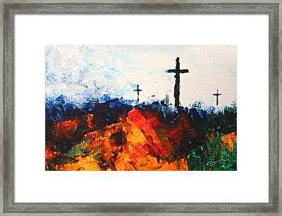 Three Wooden Crosses Framed Print by Kume Bryant