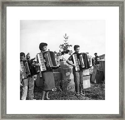 Three Young Accordion Players Framed Print