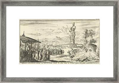 Three Young Men In The Fiery Furnace, Jan Luyken Framed Print by Jan Luyken