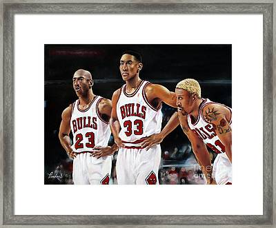 Threepeat - Chicago Bulls - Michael Jordan Scottie Pippen Dennis Rodman Framed Print