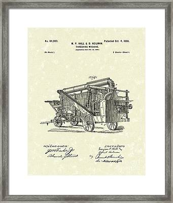 Threshing Machine 1898 Patent Art Framed Print by Prior Art Design