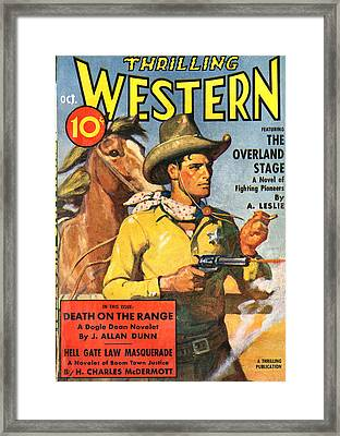Thrilling Western Comic Book Cover Framed Print by Studio Art