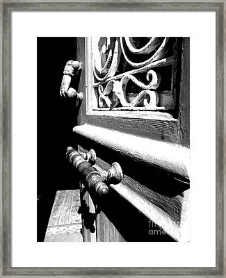 Through An Open Door Into Darkness Framed Print by Vicki Spindler