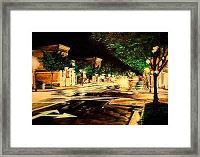 Through Some Place A Rainy Night Framed Print by Thomas Akers